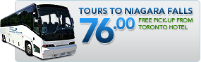 Tours to Niagara Falls Canada $76.00. Free pickup from any toronto hotel.